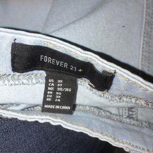 Forever 21 Skirts - Light Denim Short Frayed Skirt Plus Size C21